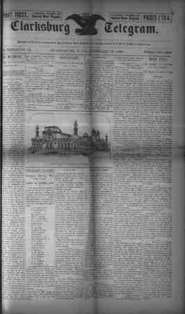 The Clarksburg Telegram Gazetesi 24 Şubat 1893 kapağı