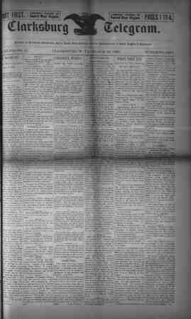 The Clarksburg Telegram Gazetesi 10 Mart 1893 kapağı