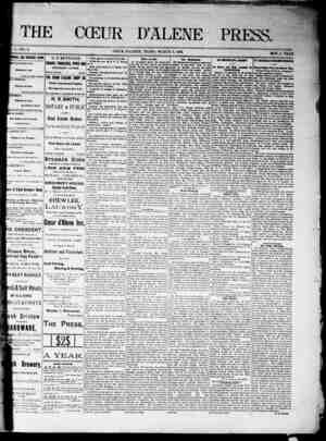 The Coeur d'Alene Press Gazetesi 5 Mart 1892 kapağı