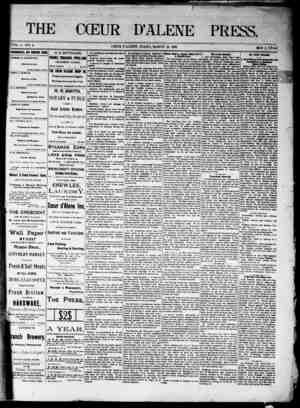 The Coeur d'Alene Press Gazetesi 12 Mart 1892 kapağı
