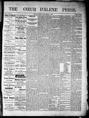 The Coeur d'Alene Press Gazetesi 19 Mart 1892 kapağı