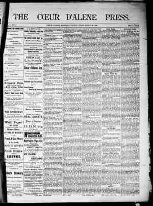 The Coeur d'Alene Press Gazetesi 26 Mart 1892 kapağı