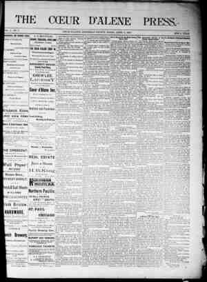 The Coeur d'Alene Press Gazetesi 2 Nisan 1892 kapağı