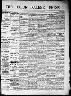 The Coeur d'Alene Press Gazetesi 9 Nisan 1892 kapağı