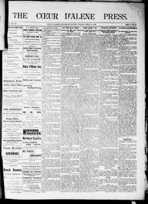 The Coeur d'Alene Press Gazetesi 23 Nisan 1892 kapağı