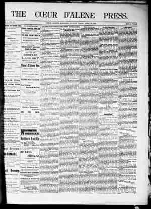 The Coeur d'Alene Press Gazetesi 30 Nisan 1892 kapağı