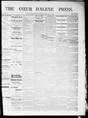 The Coeur d'Alene Press Gazetesi 7 Mayıs 1892 kapağı