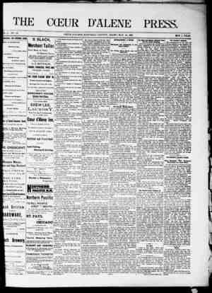 The Coeur d'Alene Press Gazetesi 14 Mayıs 1892 kapağı