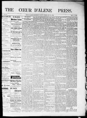 The Coeur d'Alene Press Gazetesi 21 Mayıs 1892 kapağı