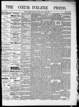 The Coeur d'Alene Press Gazetesi 28 Mayıs 1892 kapağı