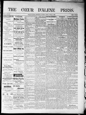 The Coeur d'Alene Press Gazetesi 11 Haziran 1892 kapağı