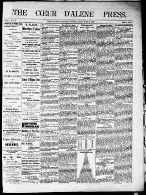 The Coeur d'Alene Press Gazetesi 18 Haziran 1892 kapağı