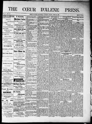 The Coeur d'Alene Press Gazetesi 25 Haziran 1892 kapağı