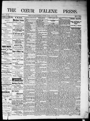 The Coeur d'Alene Press Gazetesi 2 Temmuz 1892 kapağı