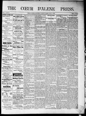 The Coeur d'Alene Press Gazetesi 9 Temmuz 1892 kapağı
