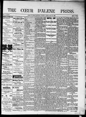 The Coeur d'Alene Press Gazetesi 16 Temmuz 1892 kapağı