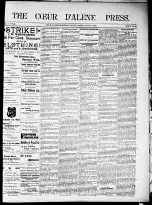 The Coeur d'Alene Press Gazetesi 6 Ağustos 1892 kapağı