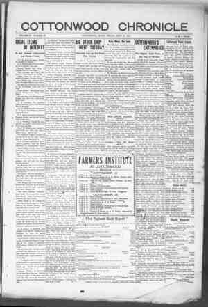 Cottonwood Chronicle Gazetesi 21 Eylül 1917 kapağı