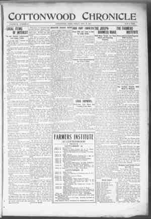 Cottonwood Chronicle Gazetesi 28 Eylül 1917 kapağı