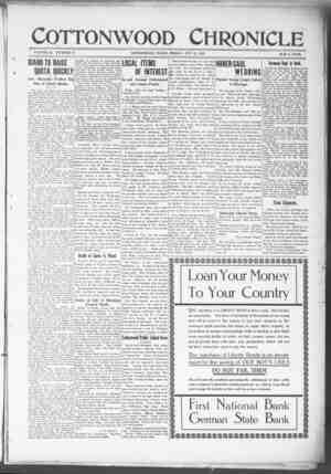 Cottonwood Chronicle Gazetesi 12 Ekim 1917 kapağı