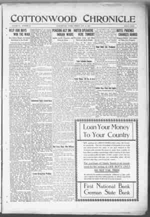 Cottonwood Chronicle Gazetesi 19 Ekim 1917 kapağı