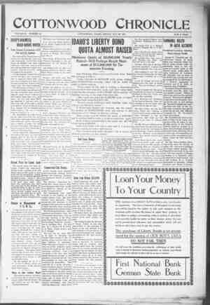 Cottonwood Chronicle Gazetesi 26 Ekim 1917 kapağı