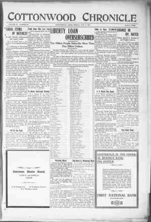 Cottonwood Chronicle Gazetesi 2 Kasım 1917 kapağı