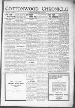 Cottonwood Chronicle Gazetesi 9 Kasım 1917 kapağı