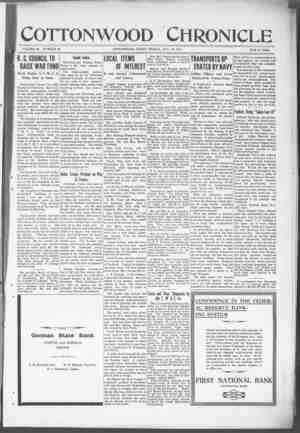 Cottonwood Chronicle Gazetesi 16 Kasım 1917 kapağı