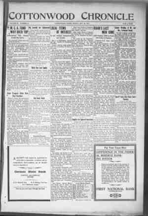 Cottonwood Chronicle Gazetesi 23 Kasım 1917 kapağı