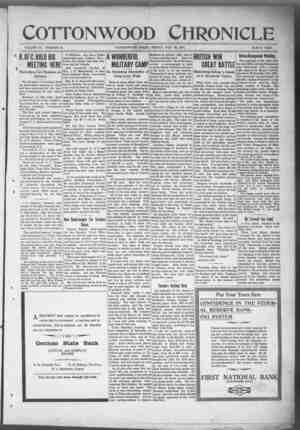 Cottonwood Chronicle Gazetesi 30 Kasım 1917 kapağı
