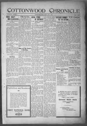 Cottonwood Chronicle Gazetesi 4 Ocak 1918 kapağı
