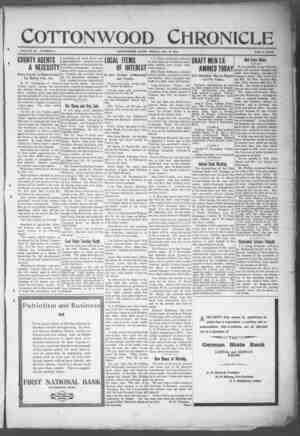 Cottonwood Chronicle Gazetesi 11 Ocak 1918 kapağı