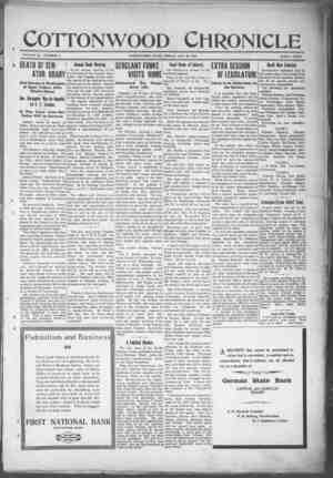 Cottonwood Chronicle Gazetesi 18 Ocak 1918 kapağı