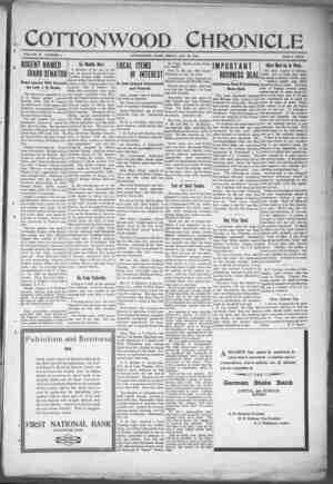 Cottonwood Chronicle Gazetesi 25 Ocak 1918 kapağı