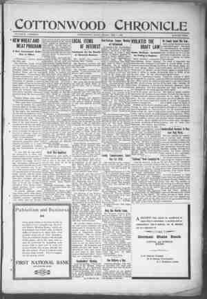 Cottonwood Chronicle Gazetesi 1 Şubat 1918 kapağı