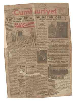 Cumhuriyet Gazetesi 1 Ocak 1929 kapağı