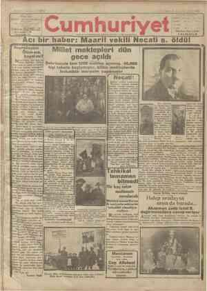 Cumhuriyet Gazetesi 2 Ocak 1929 kapağı