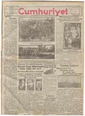 Cumhuriyet Gazetesi 4 Ocak 1929 kapağı