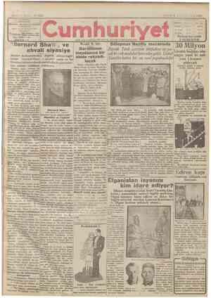 Cumhuriyet Gazetesi 6 Ocak 1929 kapağı