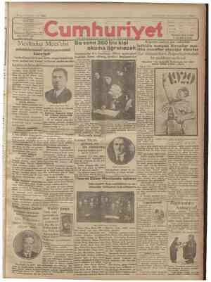 Cumhuriyet Gazetesi 10 Ocak 1929 kapağı