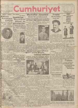 Cumhuriyet Gazetesi 11 Ocak 1929 kapağı
