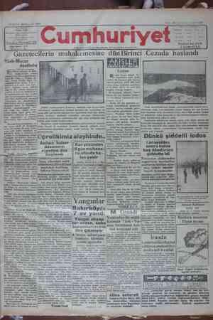 Cumhuriyet Gazetesi 15 Ocak 1929 kapağı