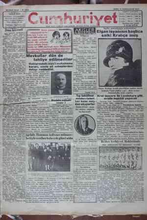 Cumhuriyet Gazetesi 18 Ocak 1929 kapağı