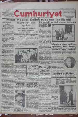 Cumhuriyet Gazetesi 20 Ocak 1929 kapağı