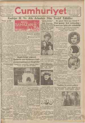 Cumhuriyet Gazetesi 11 Şubat 1929 kapağı