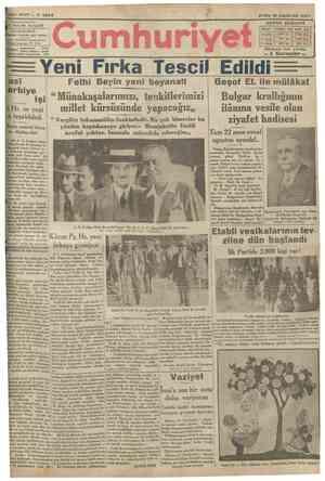 YEDINCI Başmuharrlri NADÎ • • • •• • • • • » • . İDAREHANESt: İByuflnnmuroiye karşısmda dairei Telgraf: İstanbul Cumhuriyet
