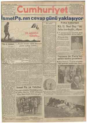 ŞFNF M* 9 2 6 4 Haşnıuharrlrl YUNU8 NADİ İDAREHANESİ: DByuüUiımıııııiu karşısmda dairri mahsnsa 1 elgraf: İstanbul C u m h u