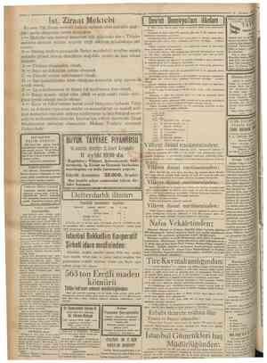 Ist. Ziraat Mektebi 'Cumhurîyel 30 Ağustos 1930 Bu sene Tâli Ziraat mektebi halinde açılacak olan mektebe aşagıdaki şartlar