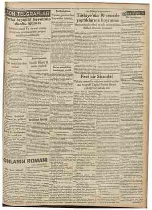15 Teşrînİsanİ 1930 Camfturîyeİ SON TEÜGRAFLAR Içtimaa İsmet Pş. riyaset etmiş, program encümeninin projesi müzakere...